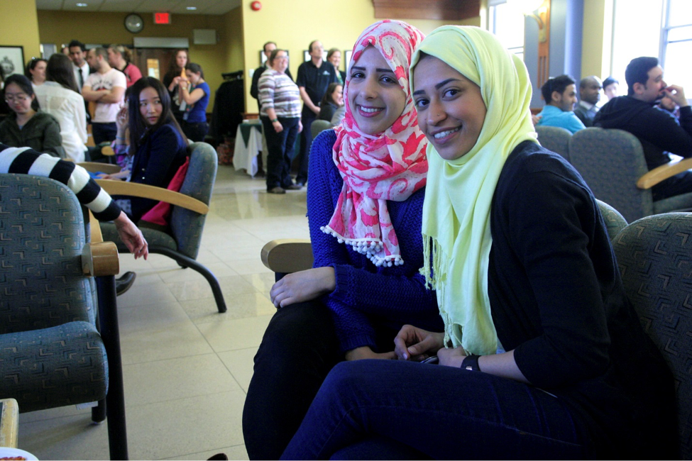 CultureWorks students practise their English skills while they relax in the student lounge