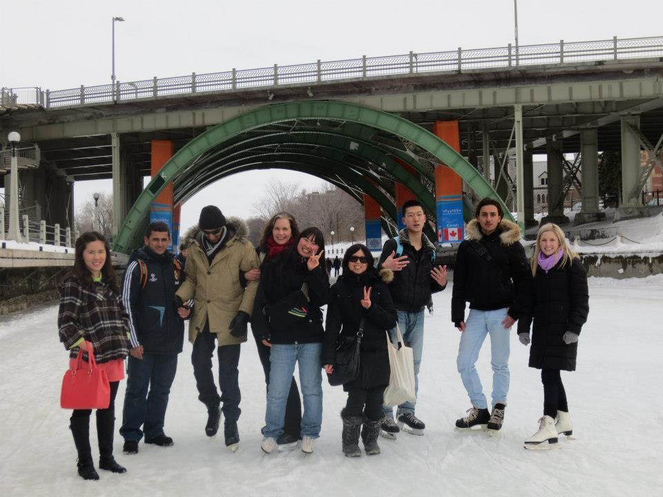 CultureWorks students skate on the Rideau Canal during the winter.
