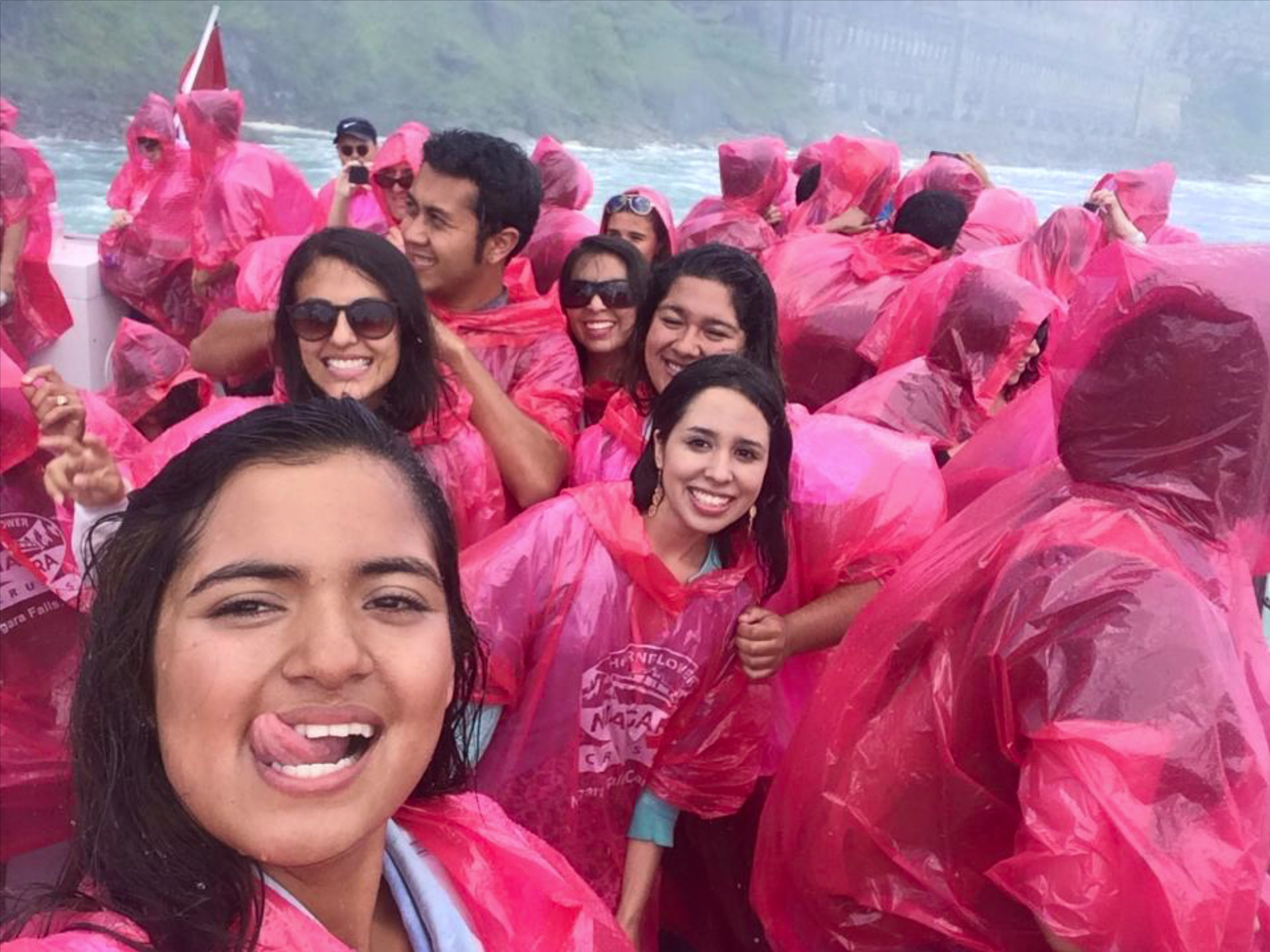 CultureWorks students get wet at the base of Niagara Falls