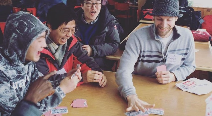Playing card games inside can also be a fun winter activity