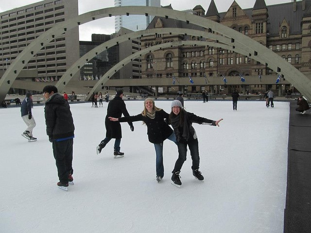 CultureWorks students try ice skating near the university campus in Oshawa, Ontario