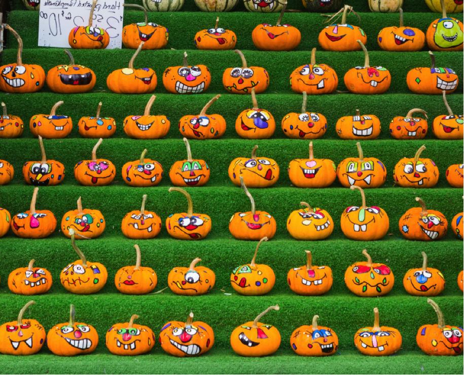 Decorated pumpkins at a market in Ottawa, Canada