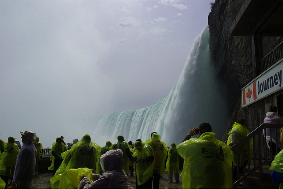 CultureWorks students get close to the falls on a class trip
