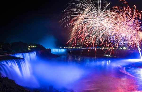 The falls are lit up with lights and fireworks every night during the summer