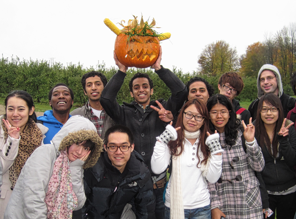 CultureWorks students make a Jack O'Lantern in the autumn