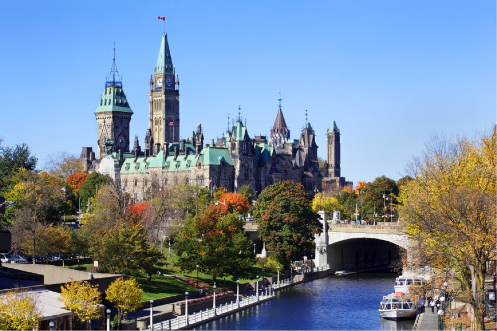 A view of Parliament buildings in Ottawa, Canada